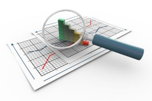 Graphs and magnifying glass. These can be used at home or in aworkplace