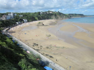 Tenby beach. We can't go there now, but a walk in the park may be part of the silver lining